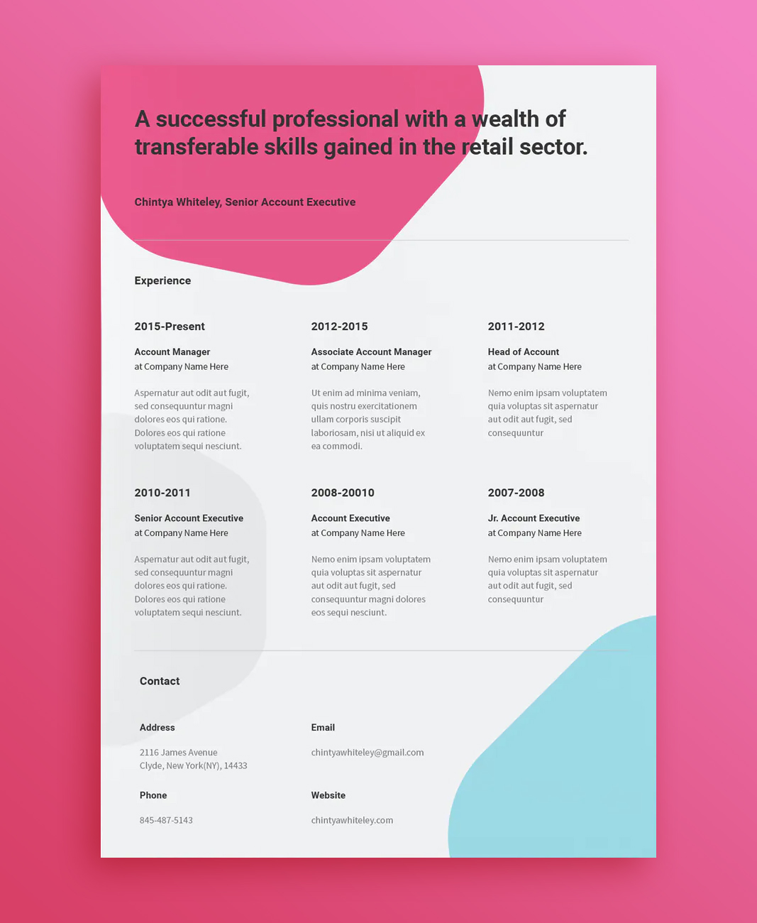 Creative Resume Vector