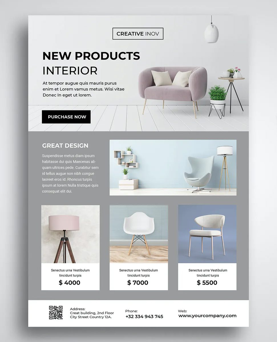 Interior Furniture Flyer Template