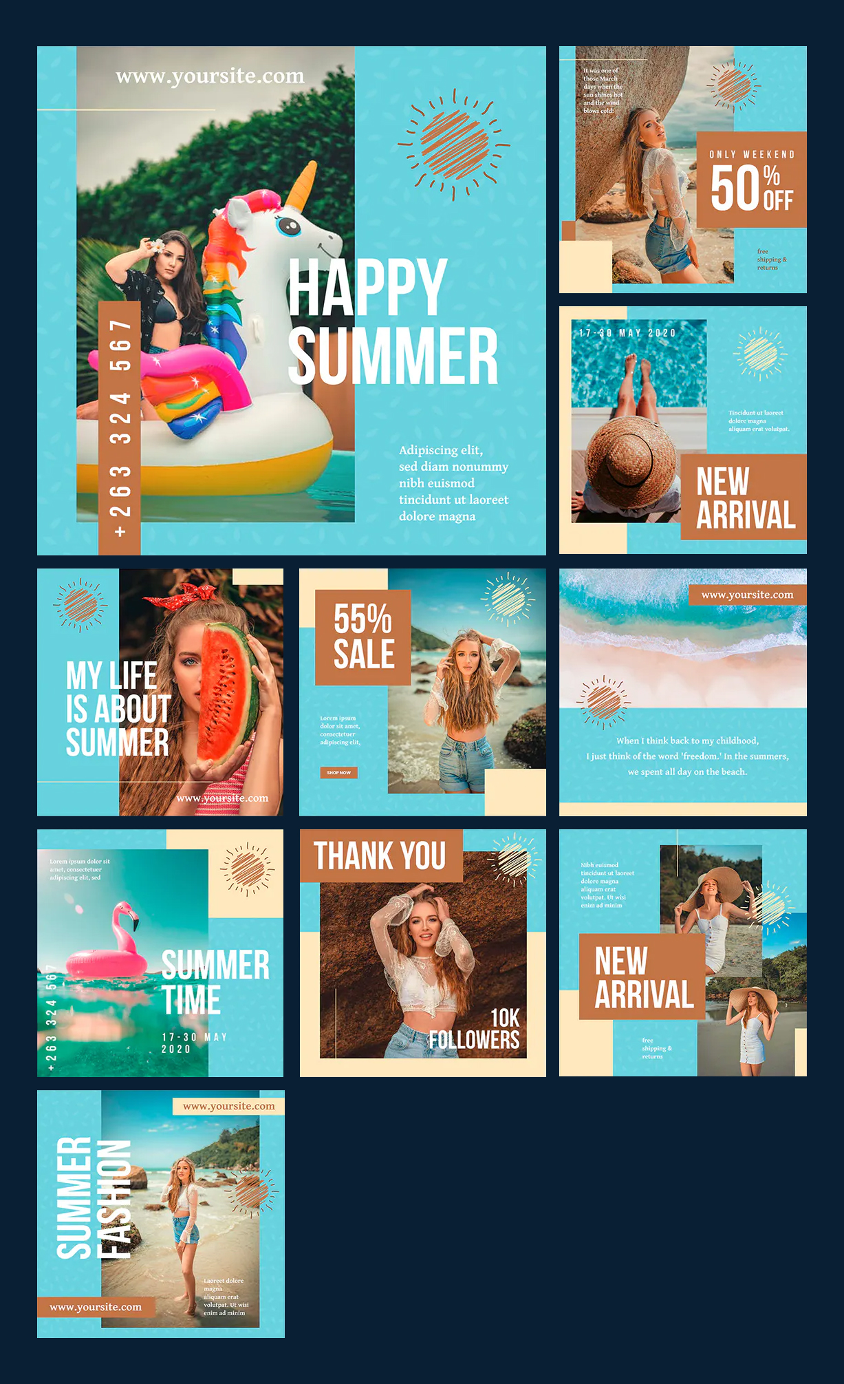 Summer Fashion Social Media Templates