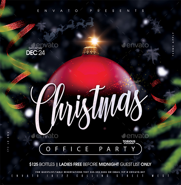 Christmas Office Party Flyer Template
