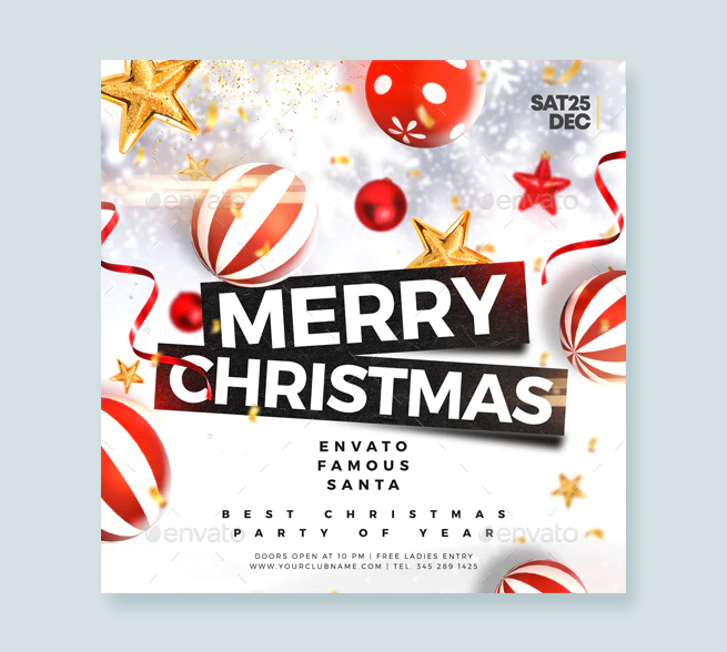 Merry Christmas Flyer Template PSD