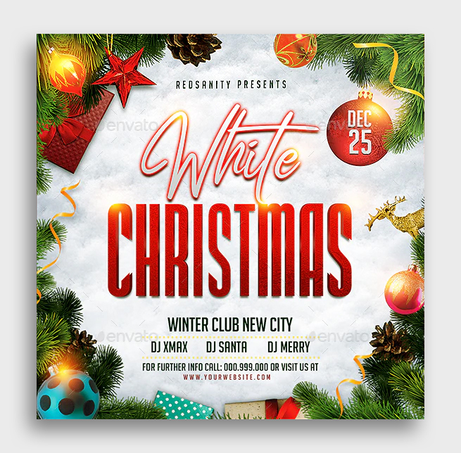 Christmas Square Flyer PSD Template