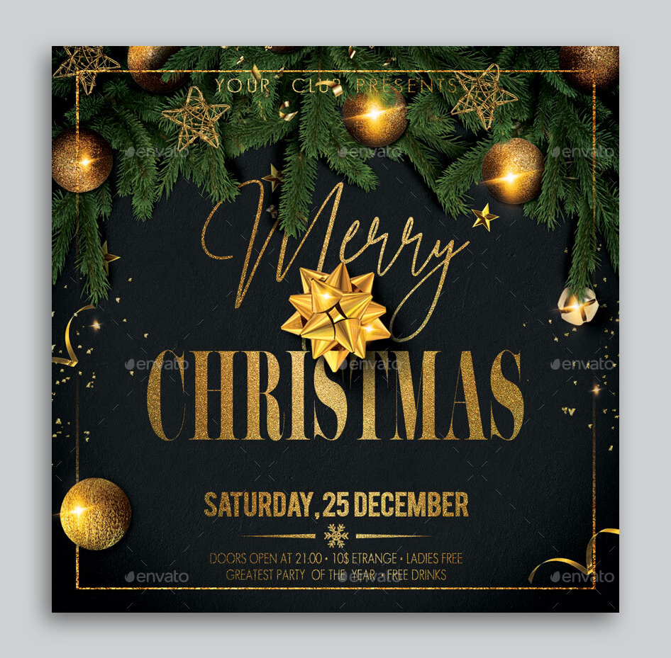 Christmas square flyer template