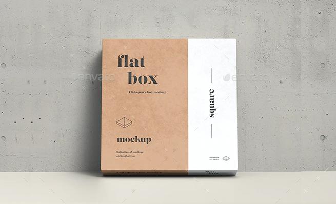 Flat Box Mockup PSD