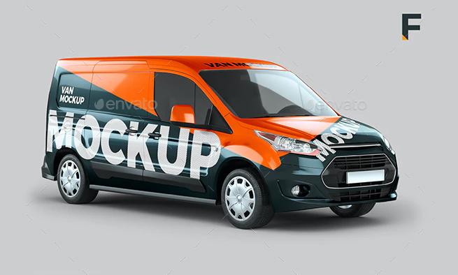 Ford Transit Connect Van Mockup