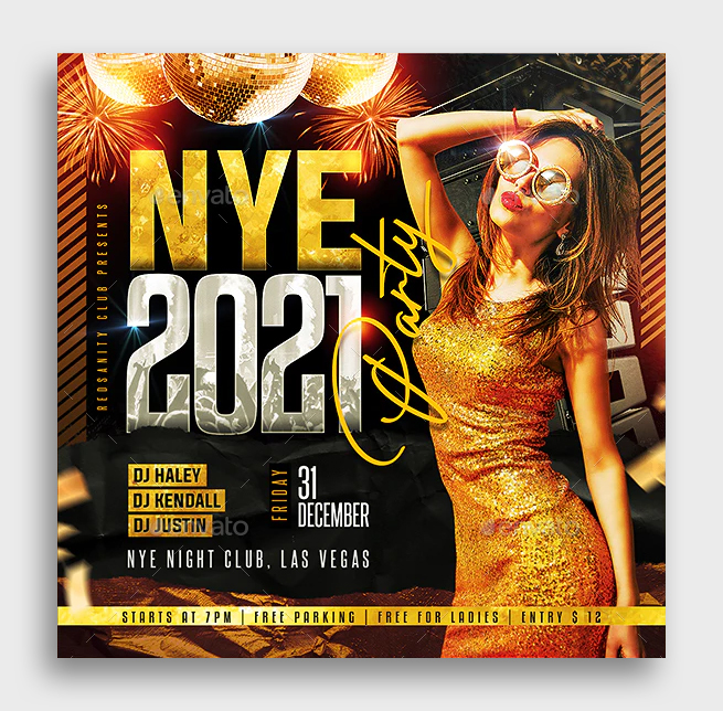 NYE Party Flyer Template PSD