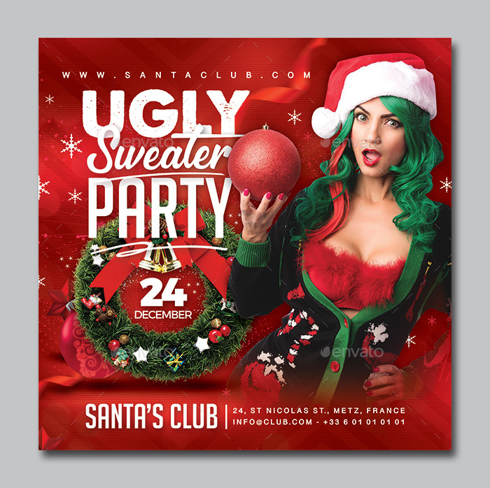 Ugly Sweater Party Flyer Template PSD
