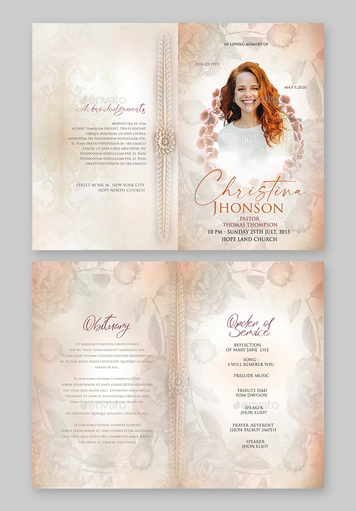Funeral Program Template PSD