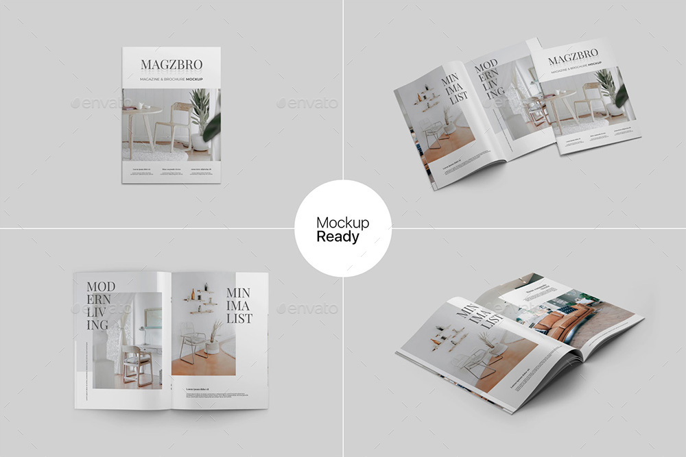 Magazine and Brochure Mockup PSD