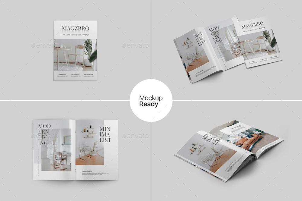 Magazine and Brochure Mockup PSD