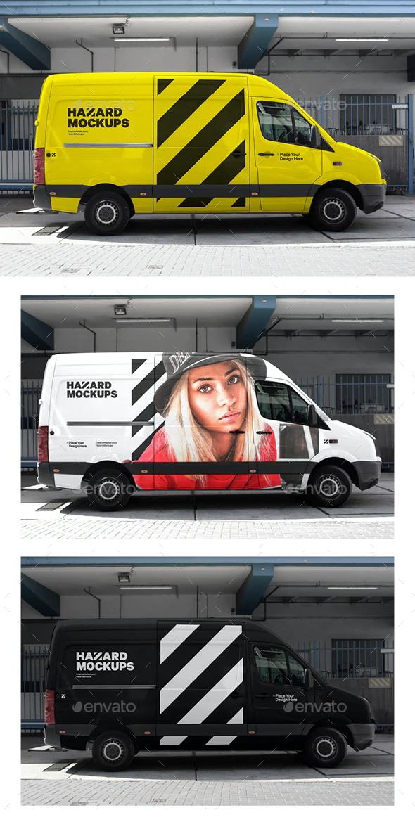 Realistic Bus Truck Wrap Mockup PSD