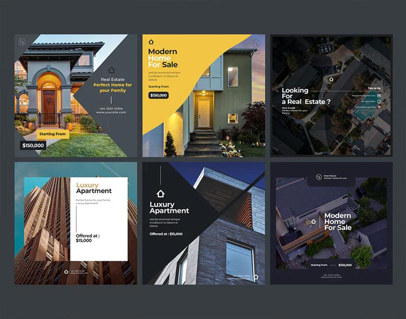 6 Real Estate Instagram Posts Design