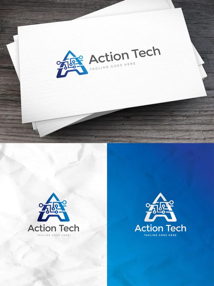 Action Tech Letter A Logo Template