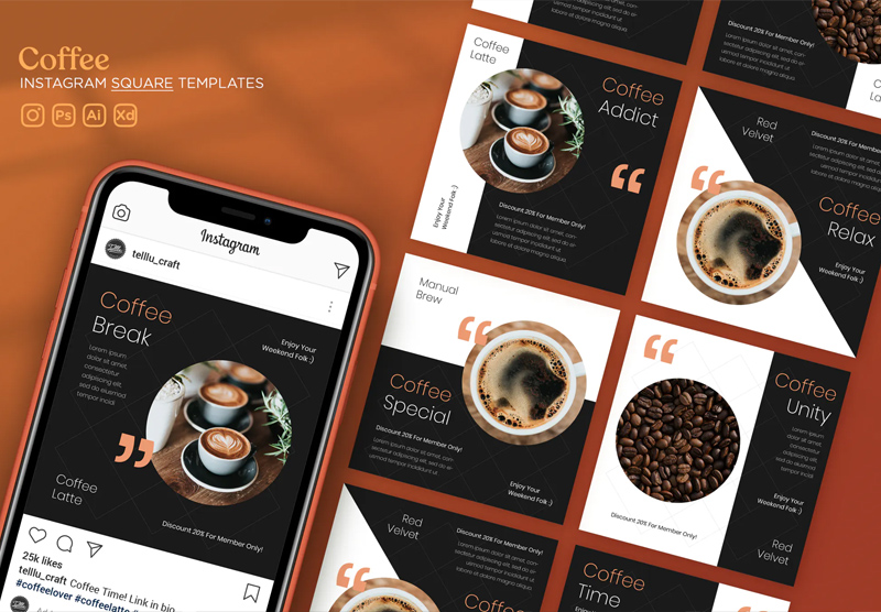 Clean Coffee Instagram Post Templates