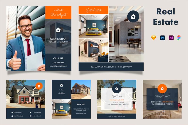 Clean Real Estate Instagram Posts Design