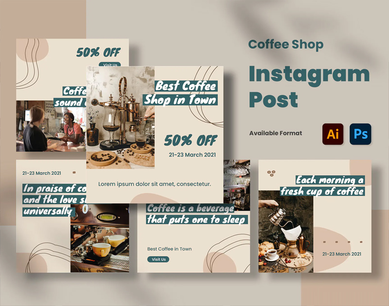 Coffee Shop Instagram Posts Design