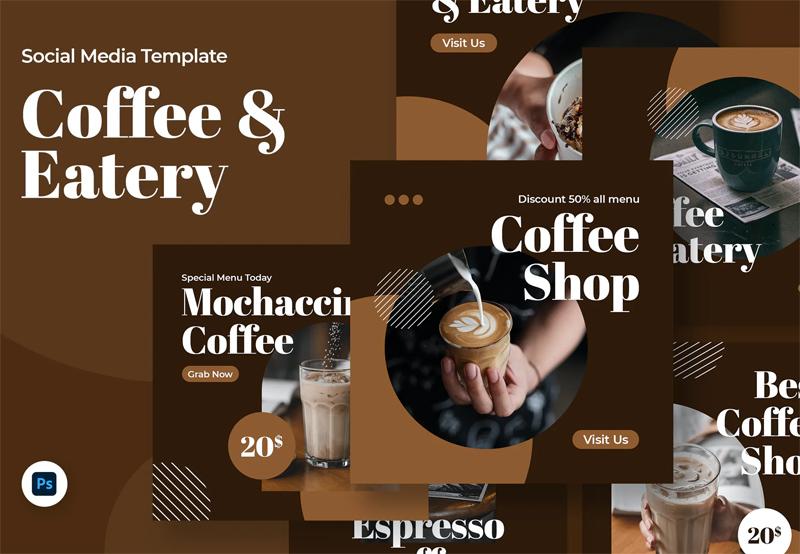 Creative Coffee Shop Social Media Template