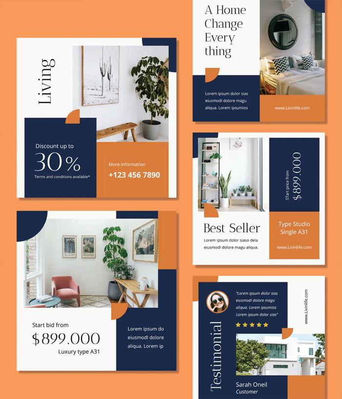 Minimalist Real Estate Instagram Post Templates