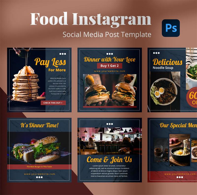 Modern Food Instagram Post Templates