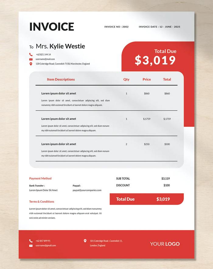 Modern Creative Invoice Template