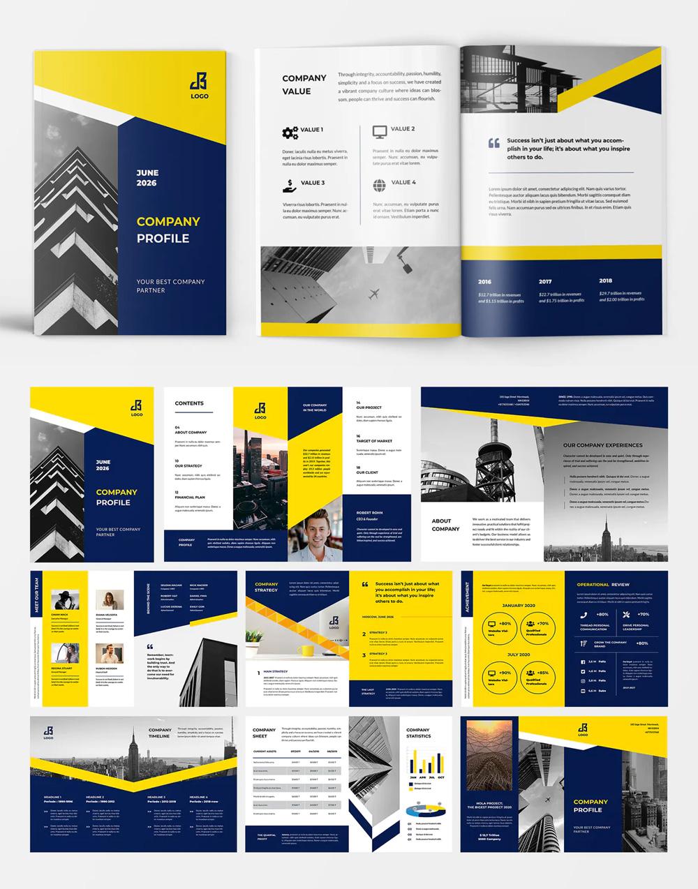 Clean Company Profile Brochure Template