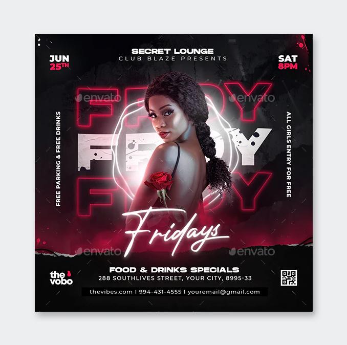 Friday Night Club Flyer PSD