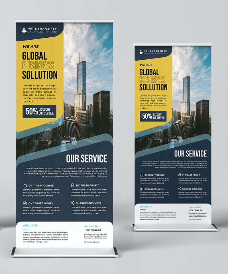 Global Business Roll-Up Banner Template