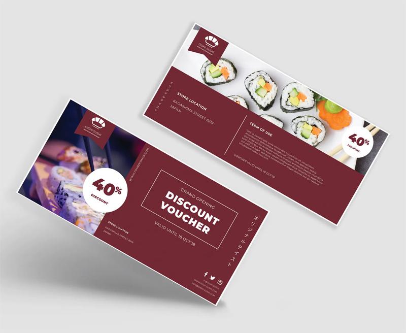 Sushi Voucher Card Design