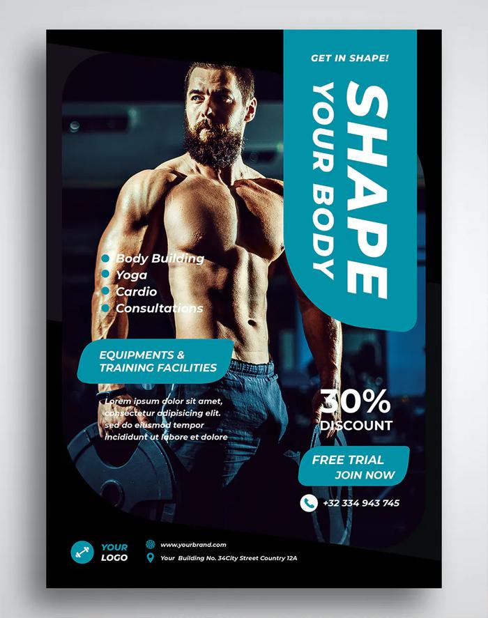 Clean Fitness Flyer Design